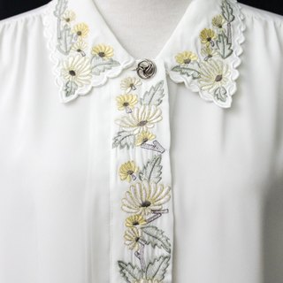 [] RE0310T1857 sunflower embroidered polo shirt white vintage