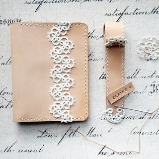 Handmade Leather & Passport Case with Tatting Lace / Box Set (with a Luggage Tag)