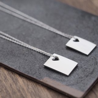 2 set) Heart + square pair necklace 925 Silver