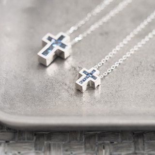 2 set) Aquamarine Cross Pair Necklace 925 Silver