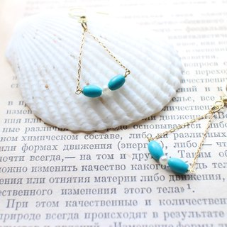 The island-Turquoise pearl brass earrings