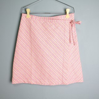 FOAK vintage pink orange striped linen straps a skirt