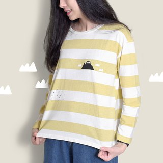 【Last】 gentle mountain - mustard striped width T