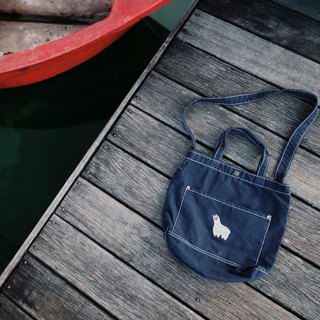 Alpaca Embroidery - Canvas Crossbody Bag: Dark Blue