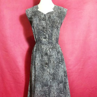 Special collar flower sleeveless vintage dress / abroad brought back VINTAGE