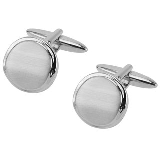Brush Silver Wavy Round Cufflinks