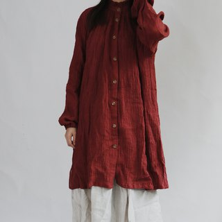 Wrinkled linen edge collar shirt dress long robes cardigan two wear sand wash linen white red original innovation