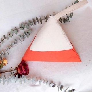 Earth tone- Coral orange Geometric Triangle Purse (M)