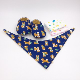 White-browed Shiba Inu blue bottom - Miyue baby gift box (toddler shoes / baby shoes / baby shoes + 2 handkerchief + scarf)
