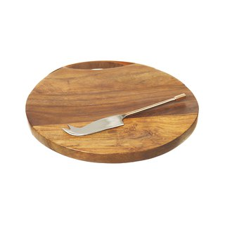 British Selbrae House Acacia Wood Handle Mixing Round Cutting Board with Brass Knife Set
