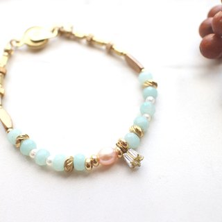 Warm-Amazonite pearl  zircon brass bracelet