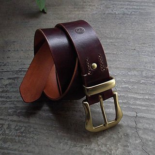 Brass lead brass band ring & manual hand-dyed vegetable tanned leather belt handmade leather biker style knight