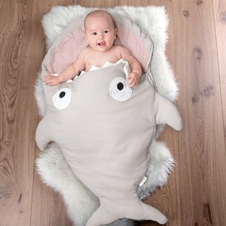 [Spanish] Shark bite a BabyBites cotton baby multi-purpose sleeping bag - khaki gray powder