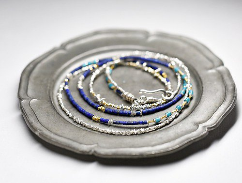 雙項鍊小青金石,綠松石藍-白心和Karen銀
