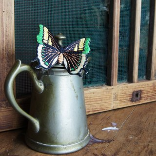 Xu Fu to Fleisch - Wudie flying butterfly embroidery iron absorption - two-tailed butterfly (green)