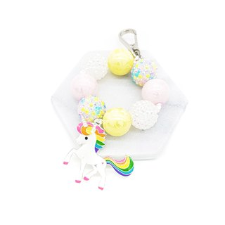 Signature Round Beaded Keychain / Bagcharm - Unicorn