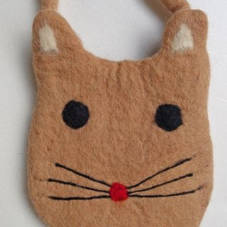 【Grooving the beats】Felt crossbody bag(Animal_Cat_Light brown)