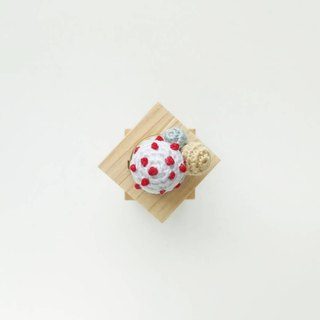 White with Red Polka Dots Crochet Button Cover