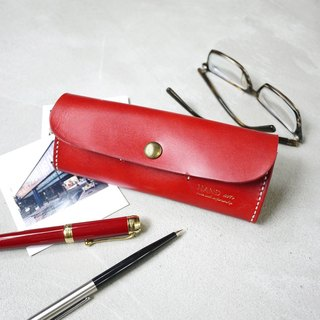 Exclusive style multi - functional hand - sewn leather pencil case / glasses box Made by HANDIIN
