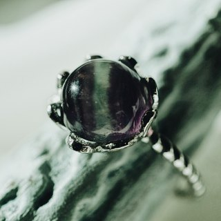 Fluorite 925 silver ring purple green