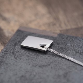 Heart + square men's necklace silver 925