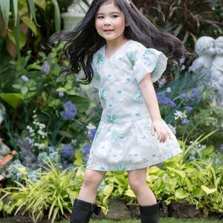 Girls Floral Organza Skirt-Green