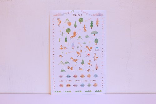 Small fox diary and paper cut type stickers