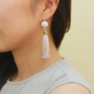 *Coucoubird*Large tassel pearl earrings mixed color / gray