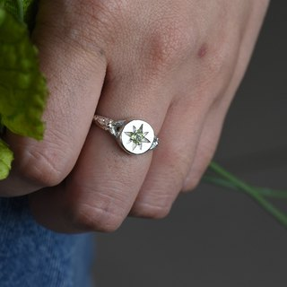 Spring Green Leaf (Pure Silver Ring, Green Peridot Silver) ::C% Handmade Jewelry::