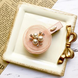 Yarn flower pearl hairpin / peach