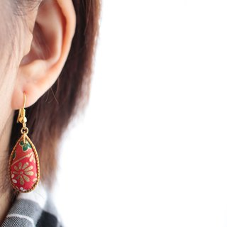 Japanese paper earrings earrings teardrop red