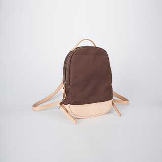 [Canvas meets leather] handmade wild stitching casual small backpack minimalist Japanese style brown