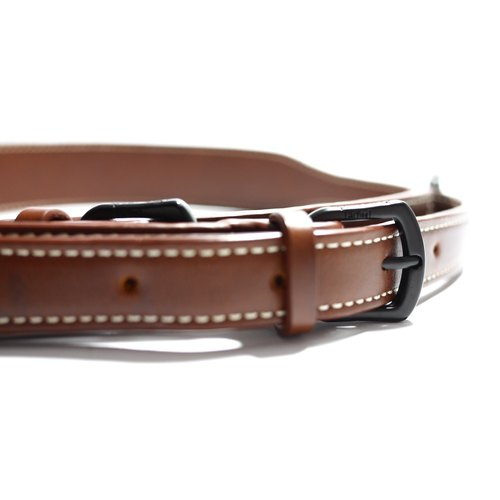 Brown leather wide strap - short (bag strap / belt / camera strap / leather handle)