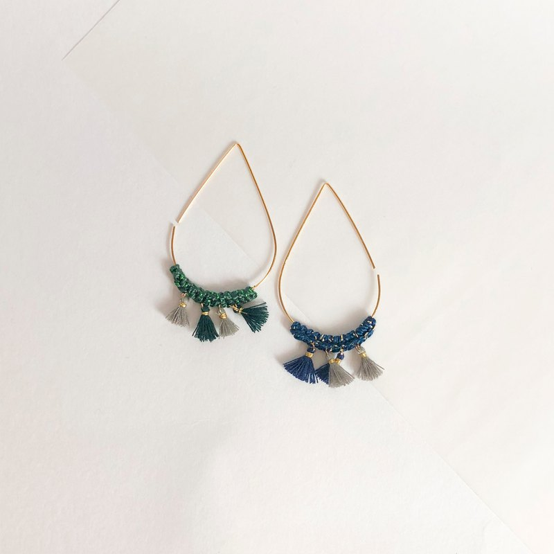 Bujielite- Crochet Gold Tear Drop Hoop Earring_with Blue thread and mini tassel
