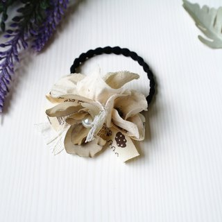 Winter series - Fabric Flower Beige White Khakis Hair Band Hair Tie HA0216