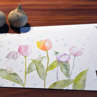 Hand-painted watercolor postcards - Flower Faerie rain