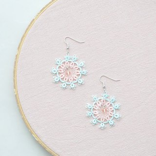 [Customized] hand-made snowflake earrings pink green and pink Orange Tatting Snowflake Earrings
