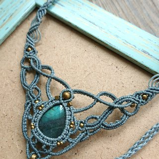 N60 Boho folk style South American wax line braided brass Labradorite necklace Clavicle chain necklace