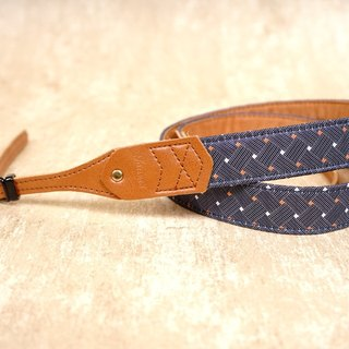 Woven blue leather squeezing camera strap 2.5
