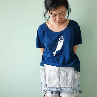 【Fasti Age】Indigo Blue Dyed Cotton Dyeing Cotton T-Shirt - Fish