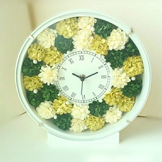 Flower Clock round (white) Carnation (Green Mix) ver.