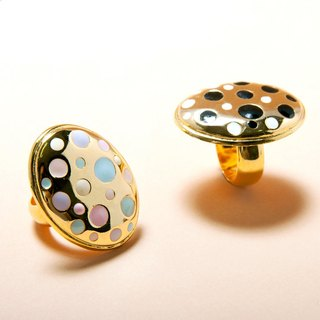 Pastel and Black & White Polka Dot On Gold Oval Ring, Oval Ring, Large Oval Ring, Enamel Polka Dot Ring, Pastel Ring, Black and White Ring