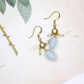 Light blue handmade glass pearl earrings ear clip