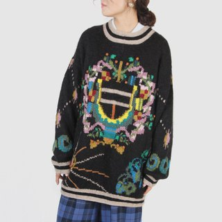 [Egg Plant Vintage] Cosmic Door Color Totem Long Edition Vintage Sweater