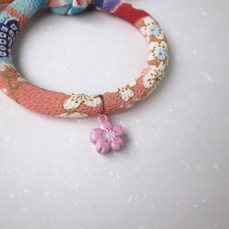 Japanese kimono dog collar & cat collar【Single knot】Plum flower Orange_S size