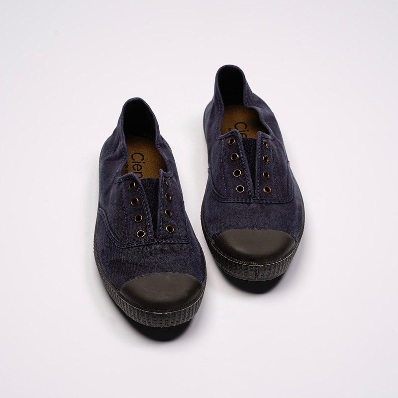 西班牙帆布鞋 CIENTA U70777 77 暗藍色 黑底 洗舊布料 大人