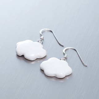 Small white clouds - handmade white porcelain silver earrings