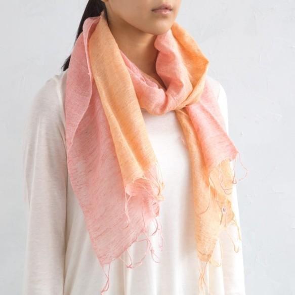 草木染混麻圍巾 櫻染粉紅色・橘色