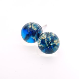 A Handmade color blue imitation opal gem earrings resin