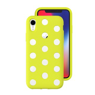 AndMesh-iPhone XR Dot Double Layer Anti-collision Cover - Lime Yellow (4571384959094)